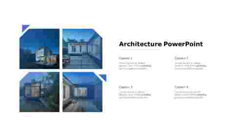 Four nodes architecture PowerPoint template