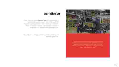 Mission vision PowerPoint template for factory