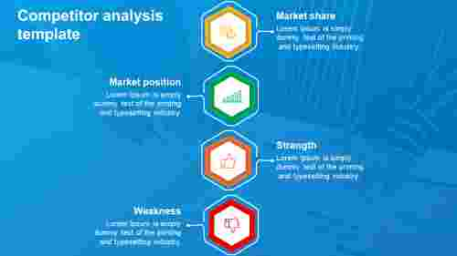 Competitor analysis template PowerPoint-hexagonal model