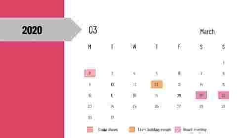 PowerPoint calendar slide - Mar 2020