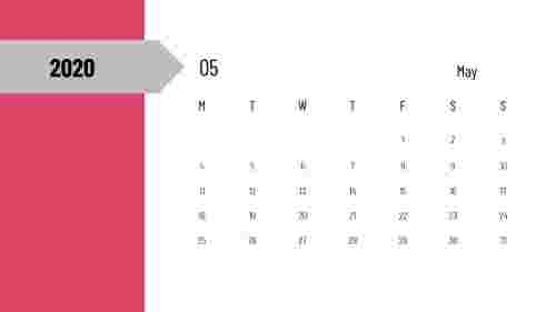PowerPoint calendar slide - May 2020