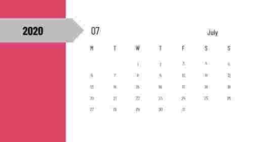 PowerPoint calendar slide - Jul 2020