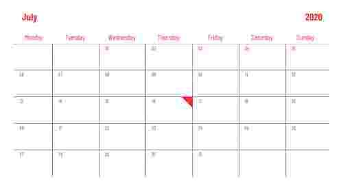 PowerPoint calendar slide for July 2020