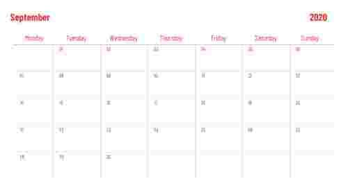 PowerPoint calendar slide for September 2020