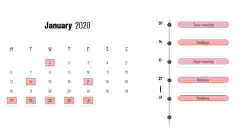 Jan 2020 - PowerPoint calendar slide