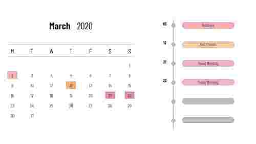 March 2020 - PowerPoint calendar slide