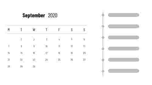 September 2020 - PowerPoint calendar slide