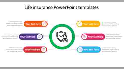 Life insurance PowerPoint templates - Seven nodes