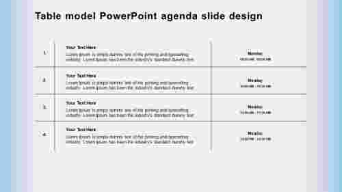 Table model PowerPoint presentation agenda slide