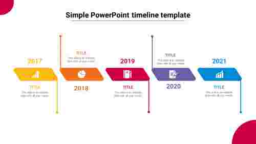 5 Steps simple PowerPoint timeline template