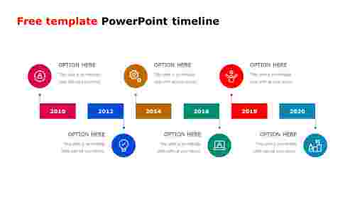 6 Stages free template PowerPoint timeline