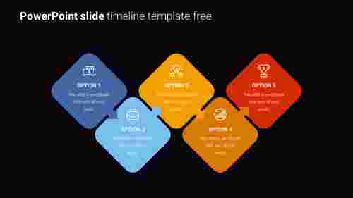 Zigzag model PowerPoint slide timeline template free