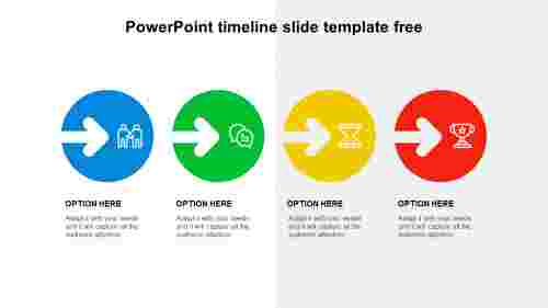 4 Steps PowerPoint timeline slide template free
