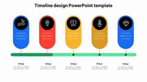 5StagestimelinedesignPowerPointtemplate