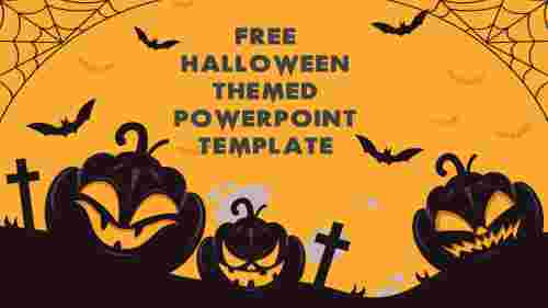 Free Halloween themed PowerPoint template for festivals