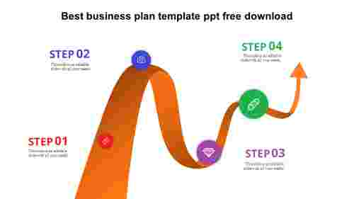 Best business plan template PPT  free download - Curved Arrows