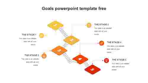 5 Goals PowerPoint template free - 3D Steps