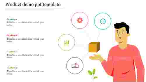 Product%20demo%20PPT%20template%20Design%20With%20Four%20icons