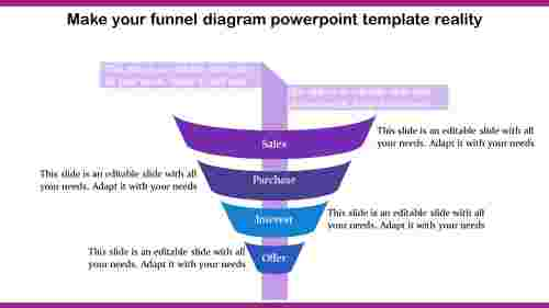 Funnel Diagram Powerpoint Template - 4 Segmented