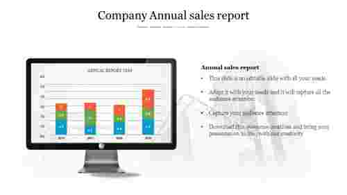 Annual sales report PPT - Bar chart model