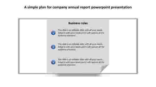 Company annual report PowerPoint presentation checklist