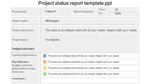 project status report template PPT design
