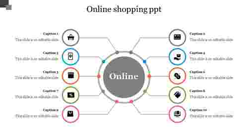 Online%20Shopping%20PPT%20With%20Circular%20Spokes%20Slide