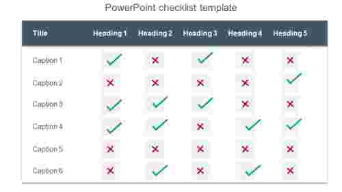 Table format PowerPoint checklist template