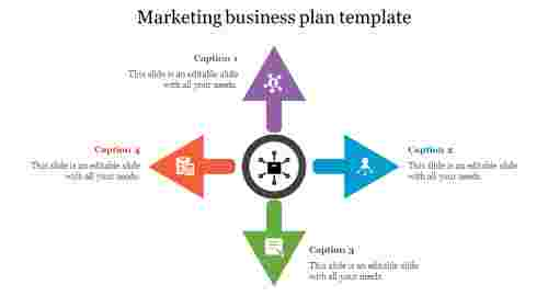 marketing business plan template with arrow shape
