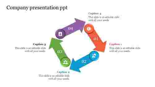 company presentation PPT with arrow shapes