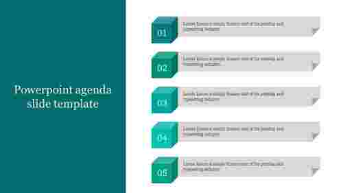 A five noded powerpoint agenda slide template