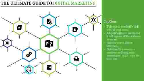 Digital Marketing Template PPT connected diagrams