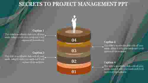 Project management PPT template - 3D Verticle Stages