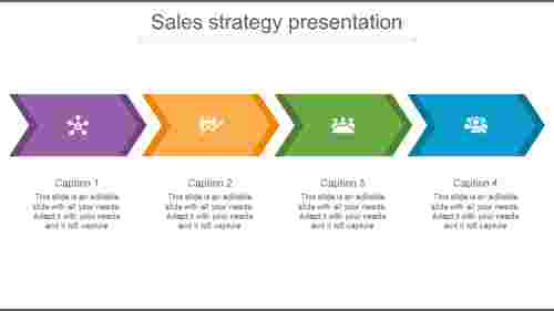 sales growth strategy presentation with chevron shapes