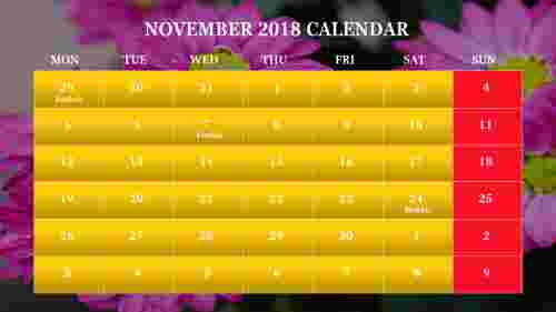 Calendar PPT slide with colorful background