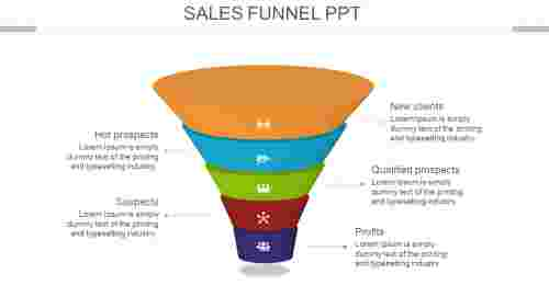Simple sales funnel Powerpoint template