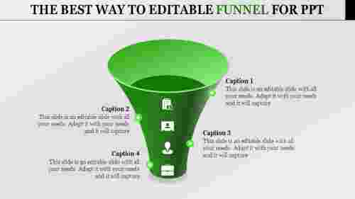 Editable Funnel For Powerpoint with four stages