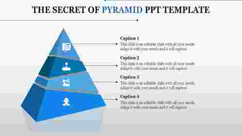 3D type pyramid PPT template-four segments