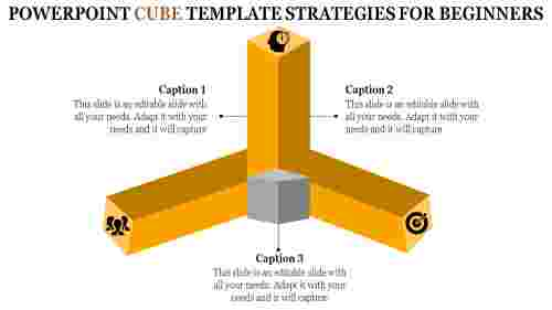 Three levels powerpoint cube template