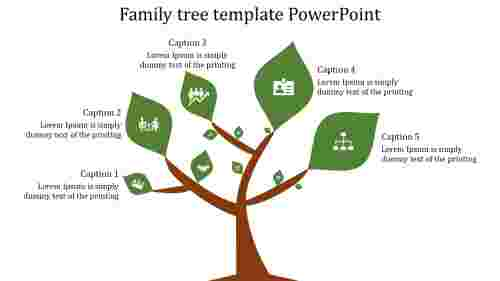A four noded family tree template powerpoint