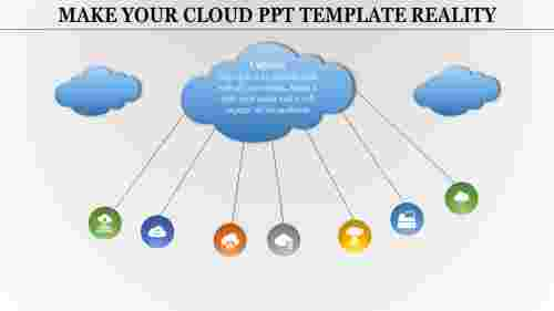 Cloud powerpoint template with seven circles