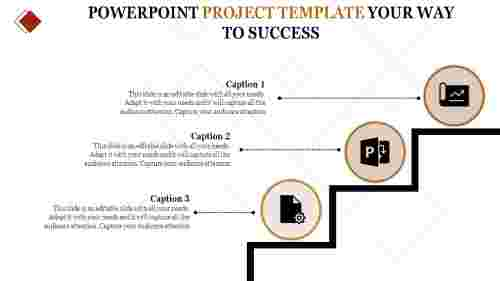 three staged powerpoint project template