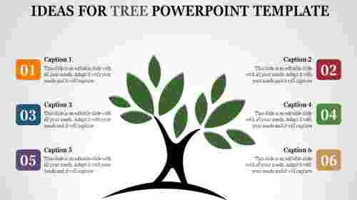 Six staged tree powerpoint template