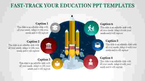 Rocket model education powerpoint templates