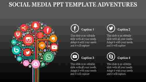 social media powerpoint template for success