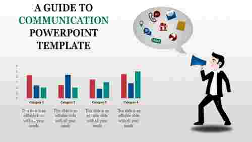 Communication powerpoint template with Bar charts