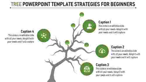 tree powerpoint template- four stage circle