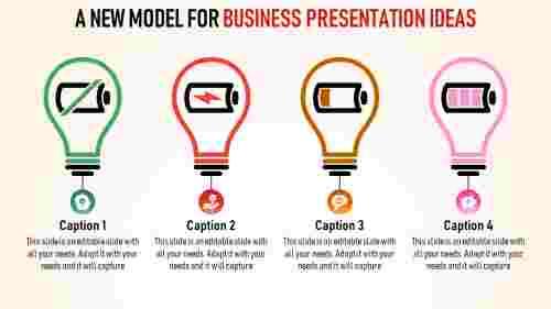 four bulbed  business presentation ideas