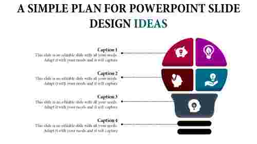 powerpoint slide design ideas - multi color bulb
