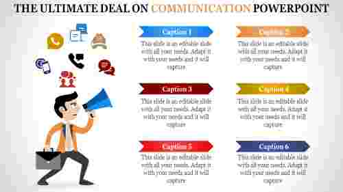 Six Stages communication powerpoint template